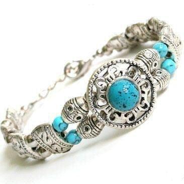 Tibetan Silver Turquoise Bracelet [style1]