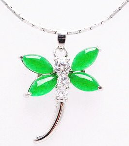 Jade Dragonfly Pendant Necklace