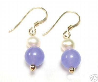 Genuine Freshwater Pearl & Lavender Purple Jade Earrings