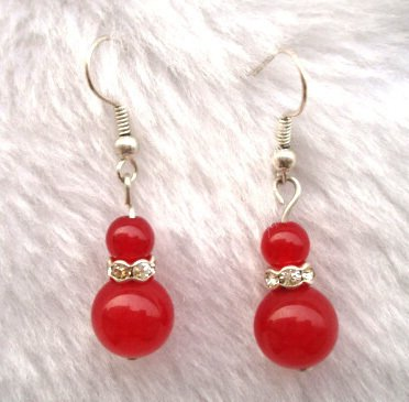 Genuine Red Agate Jade Earrings