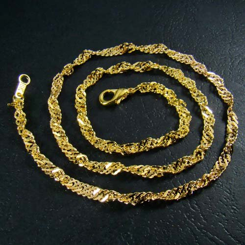 18K Gold Plated Twisted Singapore Chain