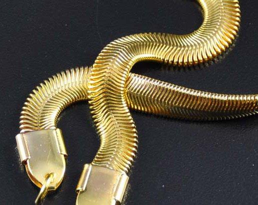 18K Gold Plated Flat Herringbone Chain