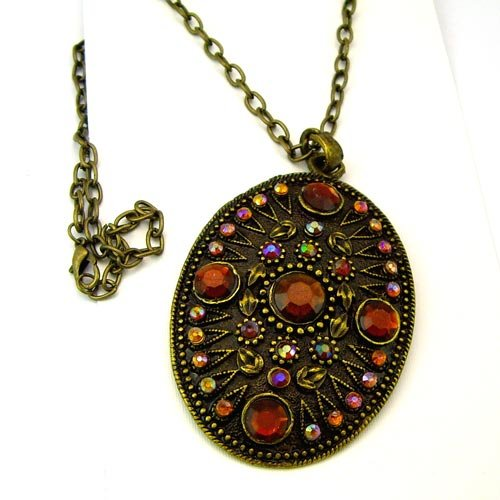 Tribal Bronze Shield With Amber Gems Necklace