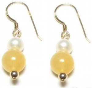 Genuine Freshwater Pearl & Golden Yellow Jade Earrings