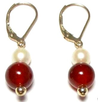 Genuine Freshwater Pearl & Blood Red Jade Earrings
