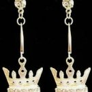 Silver Light Green Crystal Crown Earrings