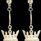 Silver Pink Crystal Crown Earrings