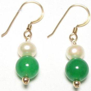 Genuine Freshwater Pearl & Green Jade Earrings [style1]