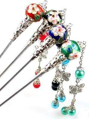 Chinese Cloissone Metal Hair Chopsticks