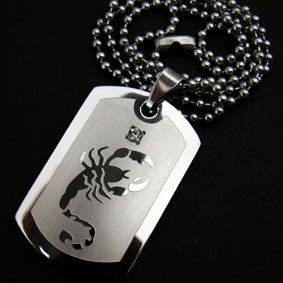 Stainless Steel Scorpion Scorpio Zodiac Dogtag Necklace [style 1]