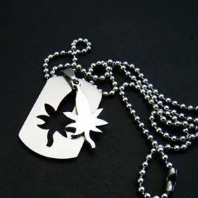 Marijuana Leaf Pendant Chain Necklace