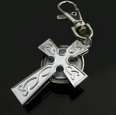 Silver Christian Cross Watch Keychain Keyring