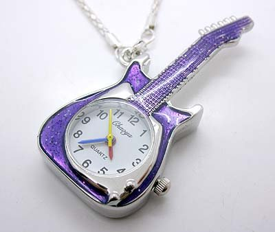 Purple Rockstar Guitar Watch Necklace