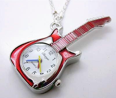 Red Rockstar Guitar Watch Necklace