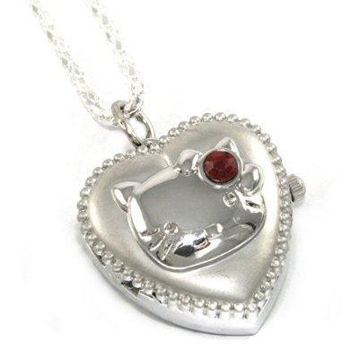 Hello Kitty Heart Locket Watch Necklace