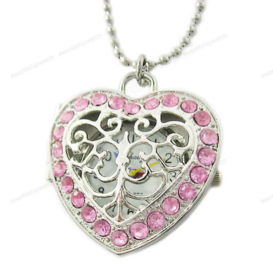 Pink Crystal Heart Watch Pendant Necklace