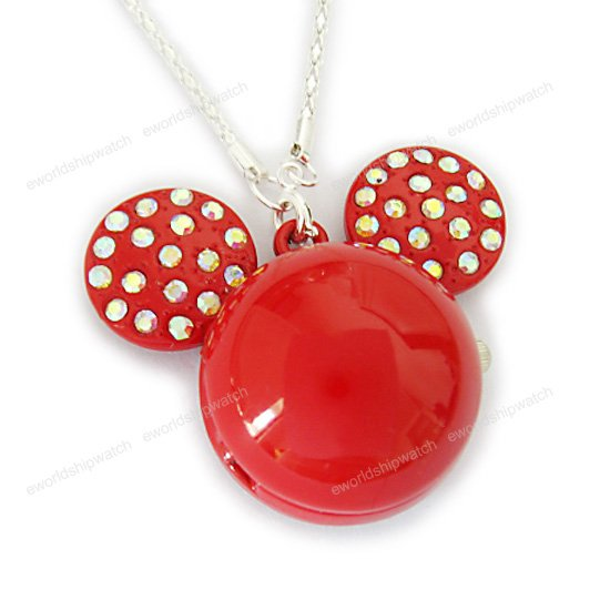Red Crystal Mickey Mouse Watch Necklace