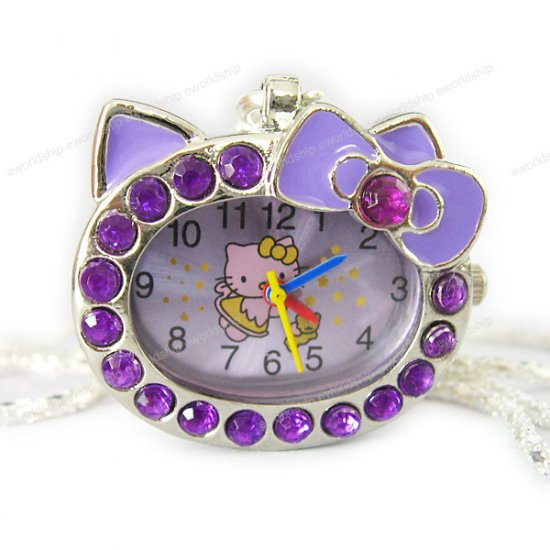 Hello Kitty Purple Crystal Watch Necklace