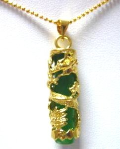 18K Gold Chinese Jade Dragon Pendant Necklace [style1]