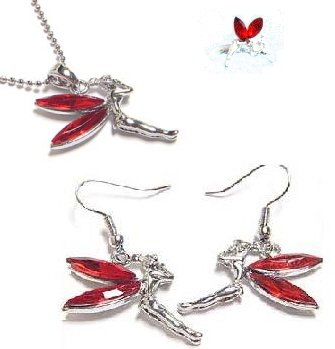Red Tinkerbell Necklace Earrings Ring Set