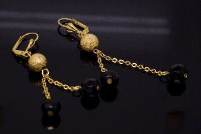 18K Gold Plated Dangling Gold & Black Bead Earrings