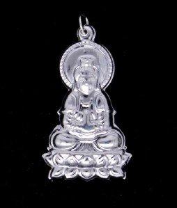 Silver Kwan Yin Guan Yin Avalokite�vara Bodhisattva Buddhist Amulet Talisman Pendant [style1]