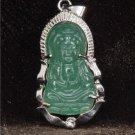 Silver Jade Kwan Yin Guan Yin Avalokiteśvara Bodhisattva Buddhist Amulet Talisman Pendant [style1]