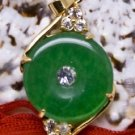 18KGP Gold Jade Crystal Circle Pendant Necklace