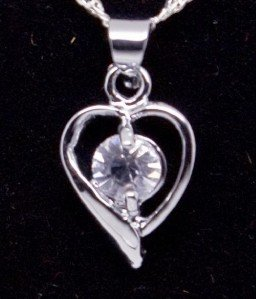 Silver Crystal Heart Pendant Necklace [style1]