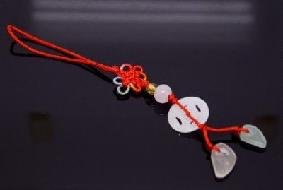 Chinese Knot & Jade Cell Phone Charm [style1]