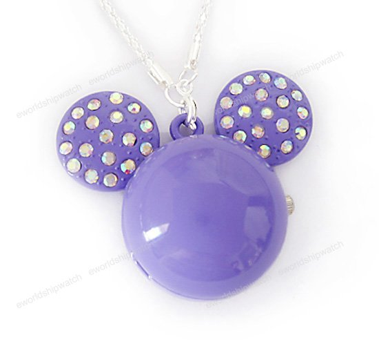 Purple Crystal Mickey Mouse Watch Necklace
