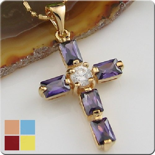 18K Gold Plated Amethyst Cross Pendant Necklace