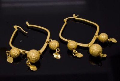 18K Gold Plated Dangling Gold Bead Earrings