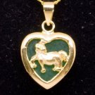 Gold Jade Horse (Chinese Zodiac) Heart Pendant Necklace