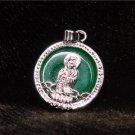Silver Jade Kwan Yin Guan Yin Avalokiteśvara Bodhisattva Buddhist Amulet Talisman Pendant [style3]