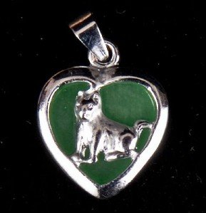 Silver Jade Dog (Chinese Zodiac) Heart Necklace
