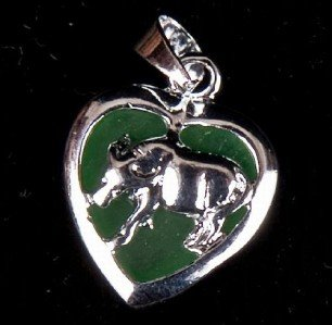 Silver Jade Ox Cow (Chinese Zodiac) Heart Necklace