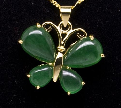 18K Gold Jade Butterfly Pendant Necklace [style2]