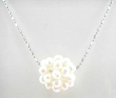 Genuine White Pearl Cluster Pendant Necklace