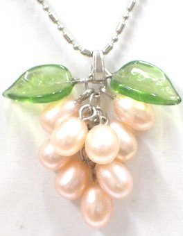 "Genuine Pink Freshwater Pearl ""Grape Cluster"" Jade Green Leaf Pendant Necklace"