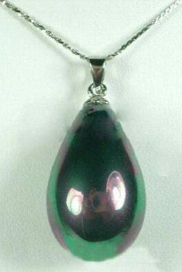 "Black Shell Pearl ""Teardrop"" Pendant Necklace"