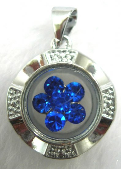 Spinning Blue Crystal Flower Pendant Necklace