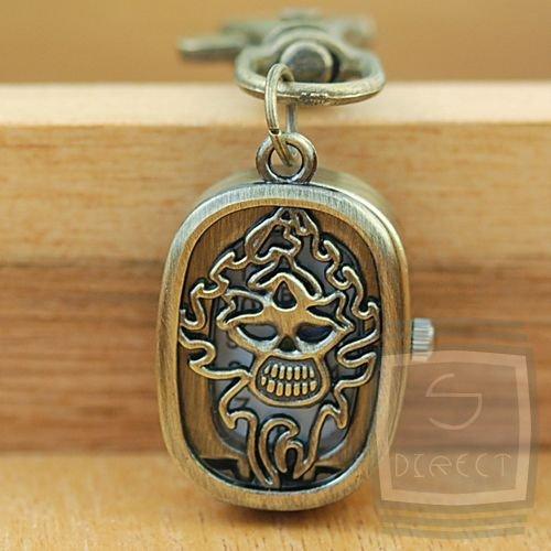 Goth Gothic Demon Skull Pocket Watch Clip