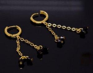 18K Gold Plated Dangling Black Bead Earrings