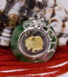 Gold Jade Spinning Rat (Chinese Zodiac) Pendant Necklace