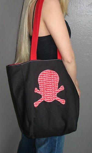 Black & Red Skull Tote Bag (Punk Rock Emo)