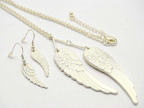 Silver Angel Wing Necklace & Earrings Set