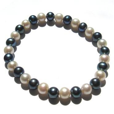 Genuine White & Black Freshwater Pearl Bracelet