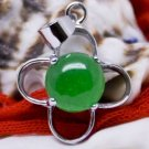 Silver Jade Four Leaf Clover Pendant Necklace