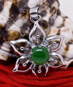 Silver Jade Lotus Flower Pendant Necklace